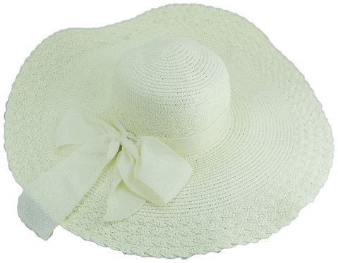 Sun Hats For Women, Wide Brim, Straw or Wool (Large, Ivory)