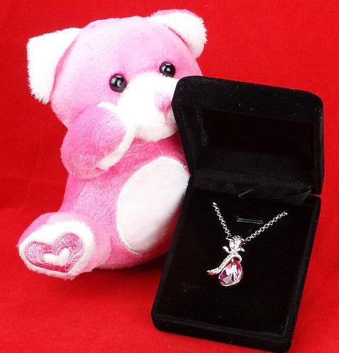 Rose Drop Necklace w/ Bear Gift Set