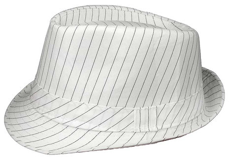 Fedora Hat (Large, White Pinstripe)
