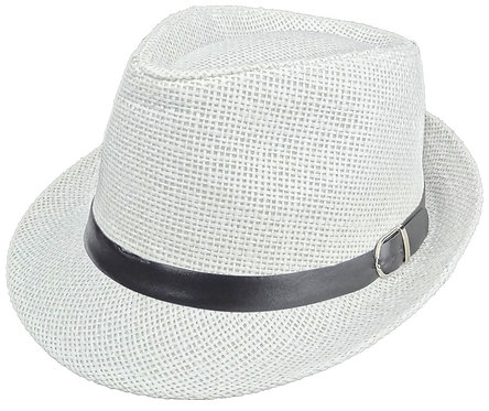 Trilby Fedora Hats for Men and Women (Medium, Straw White w Belt)