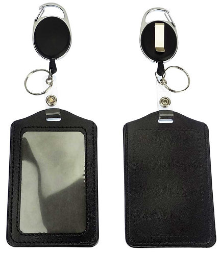 Badge Holder Reel Clip Retractable Carabiner, Black Leather, Pack of 2