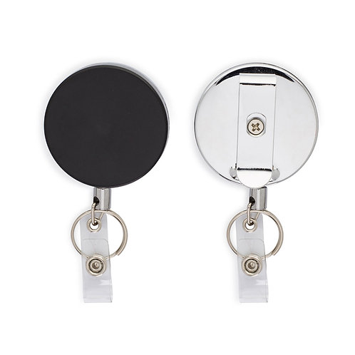 Heavy Duty Badge Reel and Key Holders, Retractable Steel Cord, pack of 2