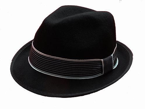 Fedora Hat Black Striped Band