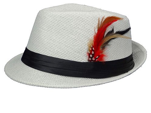 Straw Fedora Hats for Men with Fashion Feather (Large, White)