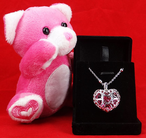 Pink Heart Necklace & Bear Gift Set