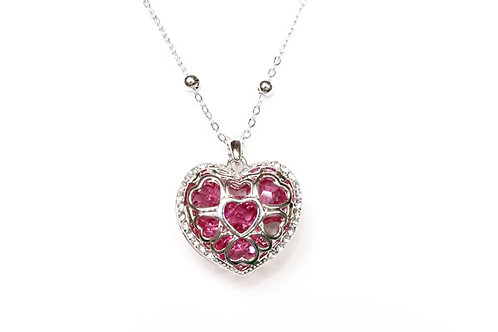 Heart Crystal Pendant with Necklace
