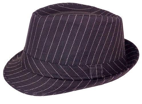 Fedora Hat (Large, Black Pinstripe)