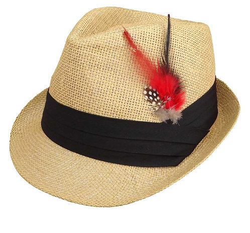 Straw Fedora Hats for Men with Fashion Feather (Large, Tan)