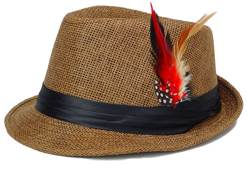 Straw Fedora Hats for Men with Fashion Feather (Large, Coffee)