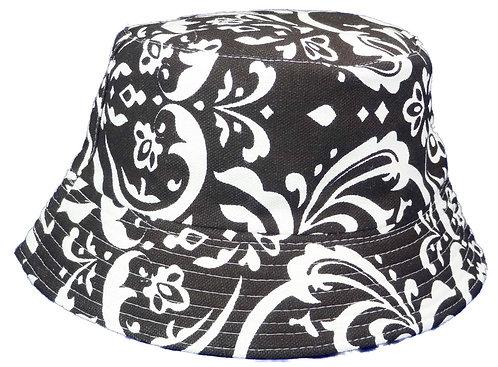 Women's Sun Bucket Hats (Medium, Black and White)