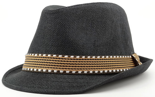 Black and Brown Fedora Hat For Boys