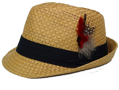 Trilby Fedora Hats Straw with Feather for Mens Fashion (Large, Natural)