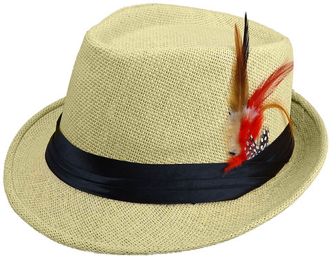 Straw Fedora Hats for Men with Fashion Feather (Large, Khaki)