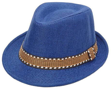 Blue Brown Fedora Hat For Boys