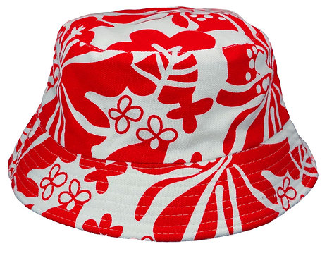Women's Sun Bucket Hats (Medium, Red and White)