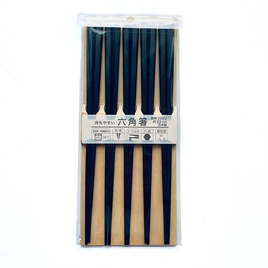 Black Resin Hexagon Chopsticks (5 Pairs) for your family