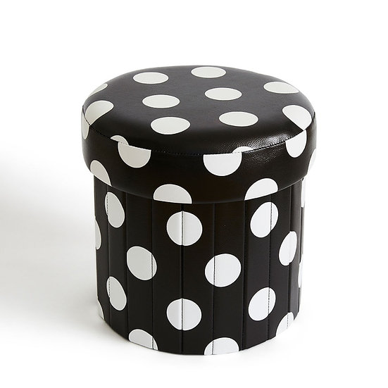 Meri Bubu® Children's Foldable Ottoman (Black Dots)