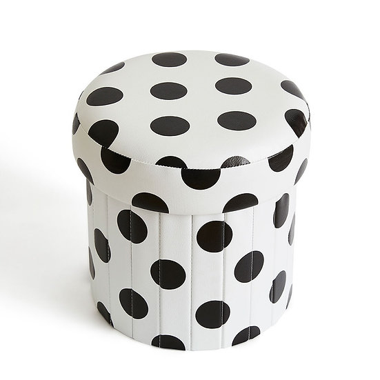 Children's Foldable Ottoman (White Dots)