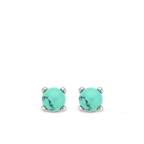 7768TQ Ti Sento zilveren oorstekers met turquoise kristallen