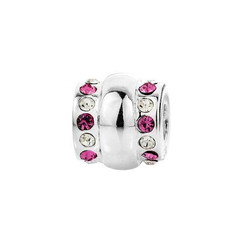 564413 Bellini zilveren bedel fant wit-rose