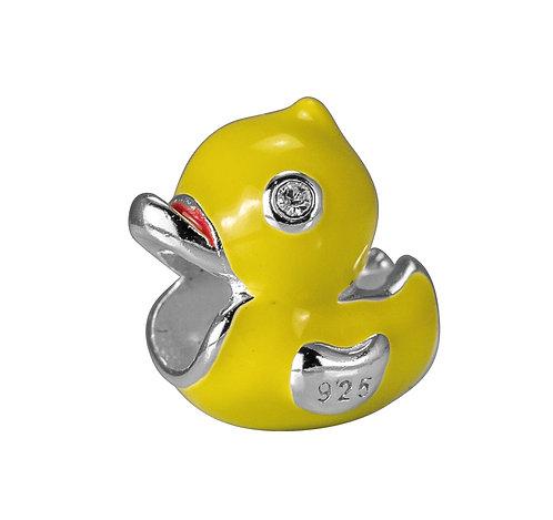 567466 Bellini zilveren bedel emaille eendje geel