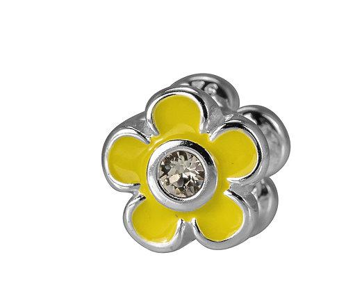 567471 Bellini zilveren bedel emaille bloem geel zirconia