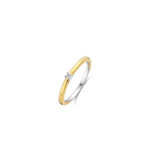 12210ZY Ti Sento zilveren ring geelgoud verguld met zirkonia