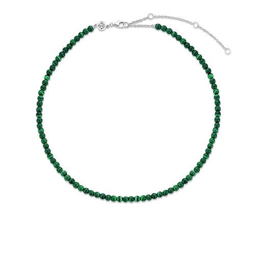 3916MA/42 Ti Sento zilveren collier met malachietgroene kralen
