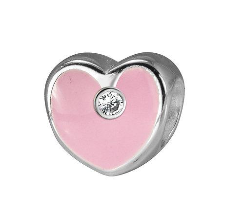 567467 Bellini zilveren bedel emaille hart rose