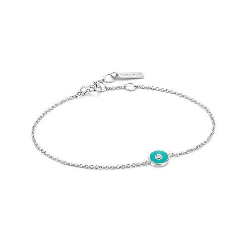 B028-01H-T Teal Enamel Disc Silver Bracelet