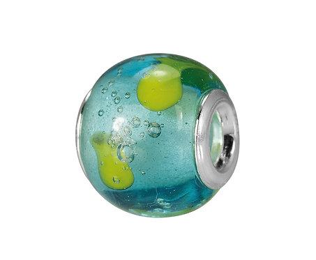 561520 Bellini zilveren bedel glas blauw groen