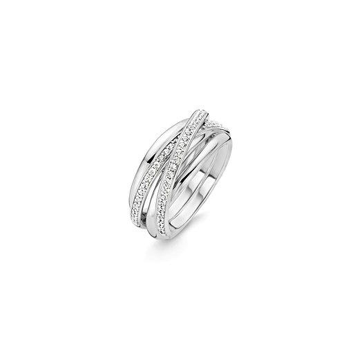 12056ZI Ti Sento zilveren ring met zirconia