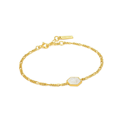 B030-02G Ania Haie Compass Emblem Gold Figaro Bracelet
