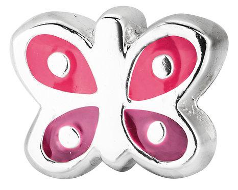 567428 Bellini zilveren bedel emaille vlinder rose