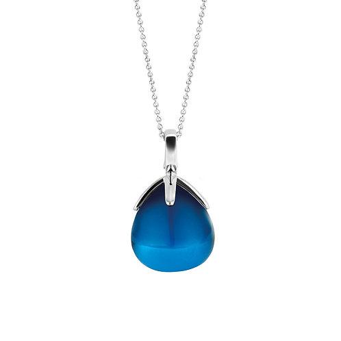 6762DB Ti Sento zilveren hanger met donkerblauwe steen