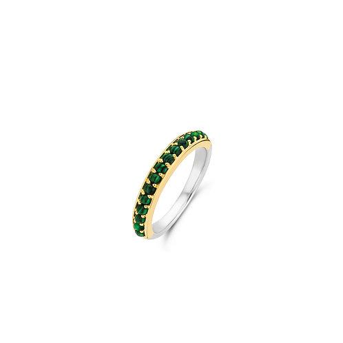12123MA Ti Sento zilver vergulde ring met malachietgroene steen