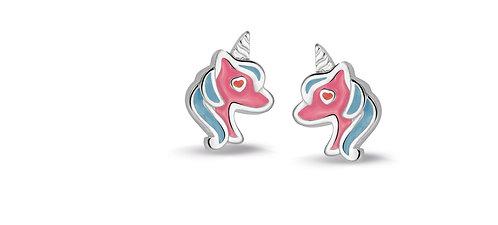 575044 Bellini zilveren oorknoppen eenhoorn rose-blauw