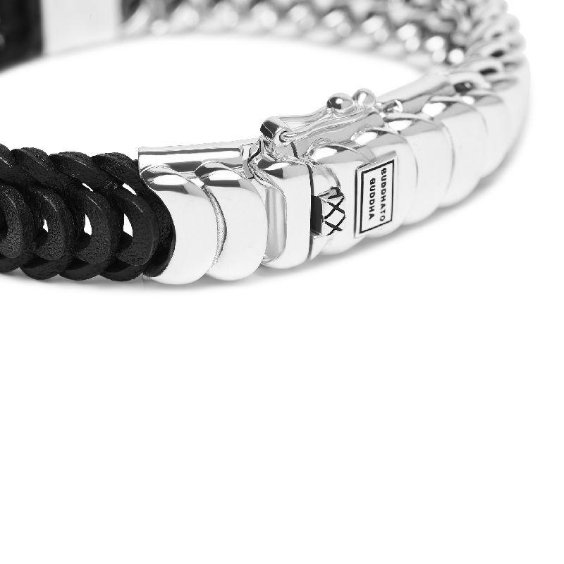Lars Mix Silver Leather Bracelet Black_d