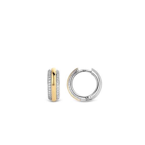 7786ZY Ti Sento zilveren oorringen geelgoud verguld zirconia