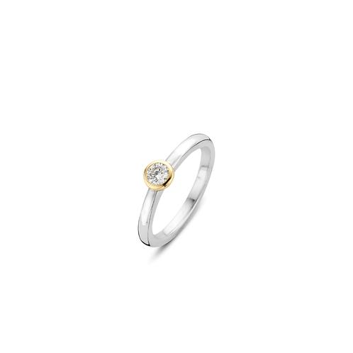 1868ZY Ti Sento zilveren ring verguld met zirconia