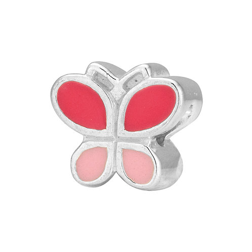 567452 Bellini zilveren bedel emaille vlinder licht-donker rose