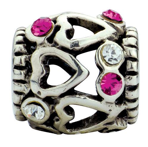 654400 Bellini zilveren bedel hartjes roze wit