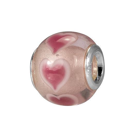 561521 Zilveren bedel glas en hartjes