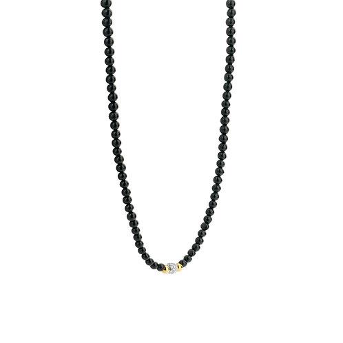 3975BO/42 Ti Sento onyx collier met zilver vergulde bolletjes en zirconia
