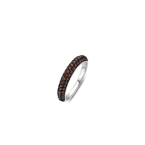 12105TB Ti Sento zilveren ring donkerbruine zirconia