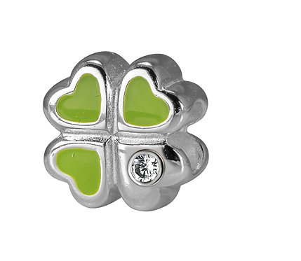 567472 Bellini zilveren bedel emaille klaver groen zirconia