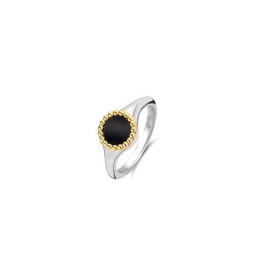 12207BO Ti Sento zilveren ring geelgoud verguld zwarte onyx