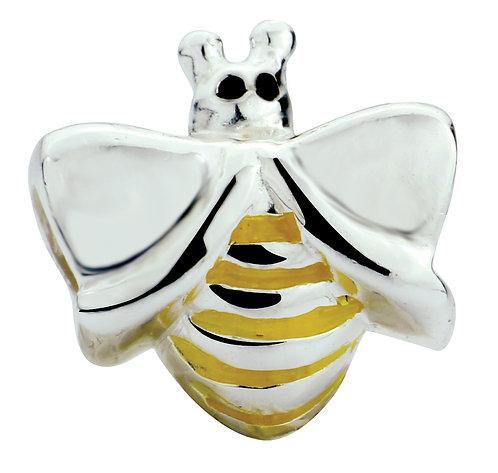 567402 Bellini zilveren bedel emaille bijtje geel