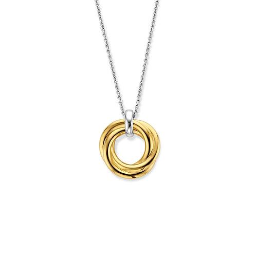 3972ZY/42 Ti Sento zilver verguld collier met ronde hanger