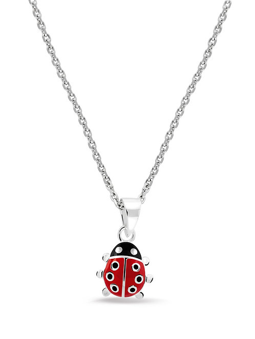 574005 Bellini zilveren collier met hanger lieveheersbeestje